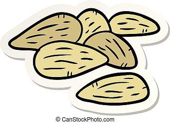 sticker of a cartoon almonds