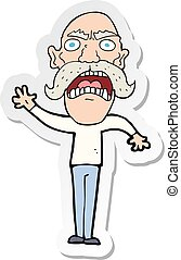 sticker of a cartoon angry old man