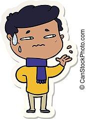 sticker of a cartoon anxious man