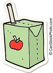 sticker of a cartoon apple juice box