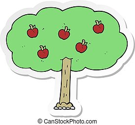 sticker of a cartoon apple tree