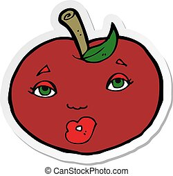 sticker of a cartoon apple with face