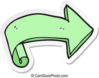 sticker of a cartoon arrow