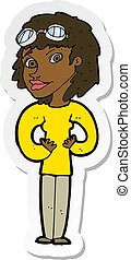 sticker of a cartoon aviator woman