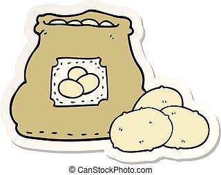sticker of a cartoon bag of potatoes
