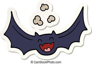 sticker of a cartoon bat