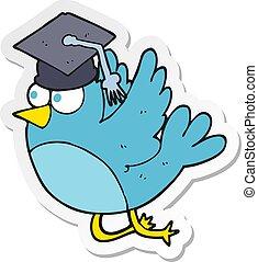 sticker of a cartoon bird wearing graduation cap