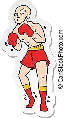 sticker of a cartoon boxer