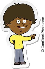 sticker of a cartoon boy laughing and pointing