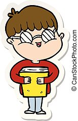 sticker of a cartoon boy wearing spectacles carrying book