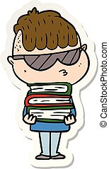 sticker of a cartoon boy wearing sunglasses with stack of books