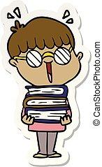 sticker of a cartoon boy with amazing books