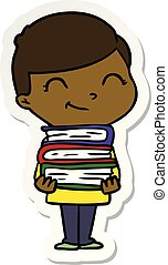 sticker of a cartoon boy with books smiling