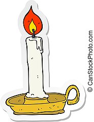 sticker of a cartoon burning candle
