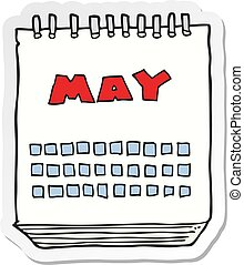 sticker of a cartoon calendar showing month of may