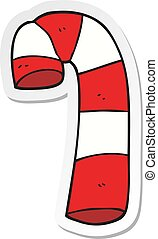sticker of a cartoon candy cane