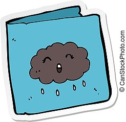 sticker of a cartoon card with cloud pattern