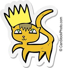 sticker of a cartoon cat with crown
