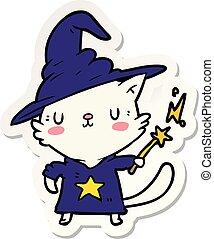 sticker of a cartoon cat wizard