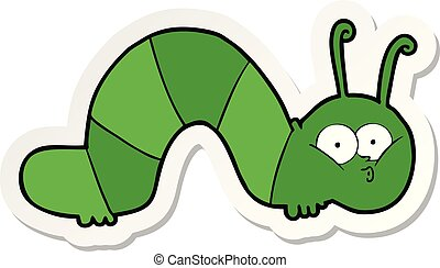 sticker of a cartoon caterpillar