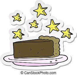 sticker of a cartoon chocolate cake