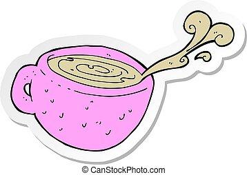 sticker of a cartoon coffee cup