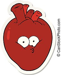 sticker of a cartoon confused heart