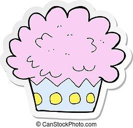 sticker of a cartoon cup cake