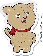 sticker of a cartoon cute teddy bear with scarf