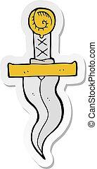 sticker of a cartoon dagger