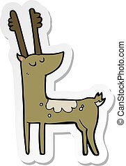 sticker of a cartoon deer