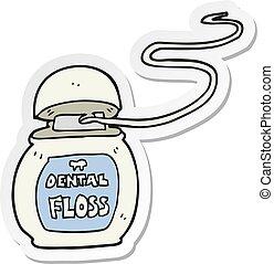 sticker of a cartoon dental floss