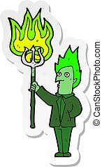 sticker of a cartoon devil with pitchfork