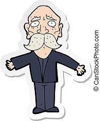 sticker of a cartoon disapointed old man