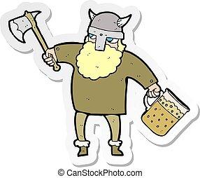 sticker of a cartoon drunk viking