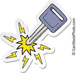 sticker of a cartoon electric car key