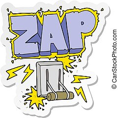 sticker of a cartoon electrical switch zapping