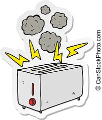 sticker of a cartoon faulty toaster