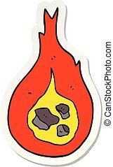 sticker of a cartoon fireball