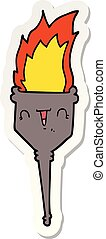 sticker of a cartoon flaming chalice