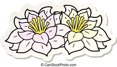 sticker of a cartoon flowers