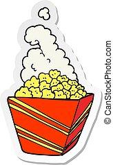 sticker of a cartoon fresh popcorn