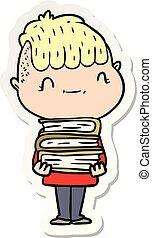 sticker of a cartoon friendly boy with books