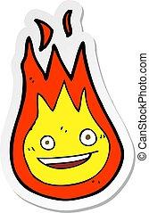 sticker of a cartoon friendly fireball