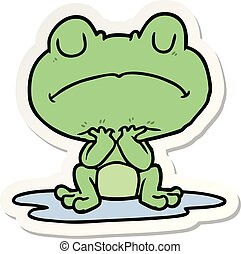sticker of a cartoon frog in puddle