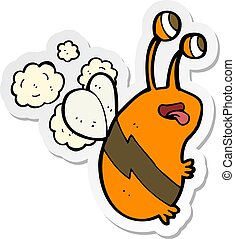 sticker of a cartoon funny bee