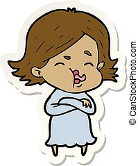 sticker of a cartoon girl pulling face