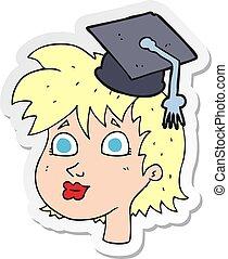 sticker of a cartoon graduate woman