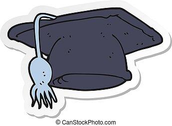 sticker of a cartoon graduation cap