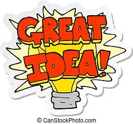 sticker of a cartoon great idea light bulb symbol